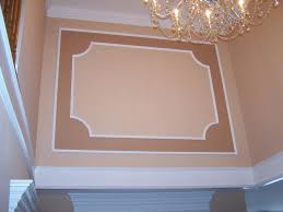 Decorations:Framed Panels With Crown Molding And Box Band For Stair Well  Framed Panels With