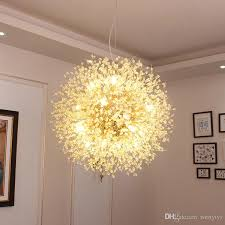 modern led crystal pendant lamp dandelion chandelier light fixture for dining room bedroom res de cristal ac110v 240v drum pendant light ceiling light