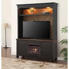 antique black 2 piece fireplace entertainment center brighton hickory