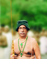 Image result for travancore royal with green cap in temple