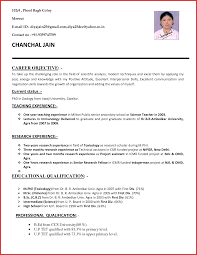 Fresh Application With Resume For Teacher Type Of Resume