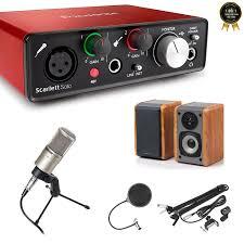 Combo thu âm phòng thu mini : Sound card Focusrite Scarlett Solo G2 (Gen  2), Micro cao cấp Takstar K200 và loa kiểm âm 2.0 Edifier R1000TC - Dàn âm  thanh tại