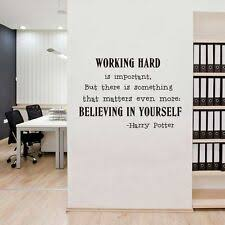 Wall decor office Diy Believe In Yourself Wall Art Sticker Office Harry Potter Quotes Decals Decor Sammyvillecom Office Decor Ebay