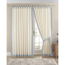 claremont lined tab top curtains pair available in light blue