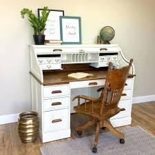 large secretary desk vintage roll top desk solid wood desk country cottage furniture distressed desk home
