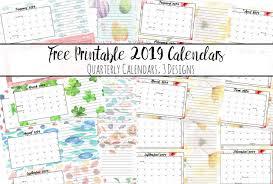 August Theme Calendar Free Printable 2019 Quarterly Calendars With Holidays 3 Designs