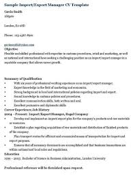 Import/Export Manager Resume Template