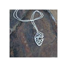 silver anatomical heart necklace amnh