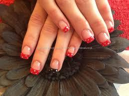 Acrylic nails with red and black polka dot nail art | Them Bad ...