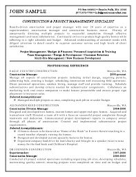 Construction And Project Management Specialist Resume Awesome
