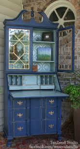 refinished secretary desk in napoleonic blue and duck egg blue by tenzero8 studio painted secretary deskspainted deskshutch