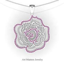 classic 14k white gold light pink sapphire diamond rose promise pendant and necklace chain p101m