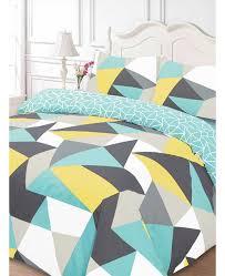 shapes geometric single duvet cover and pillowcase set blue