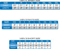 Custom Team Jerseys Mens Size Chart Custom Sublimated