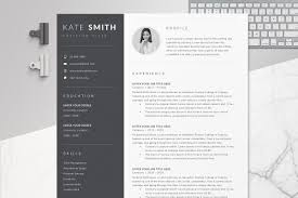 Resume Template Cv One Page Resume Templates Creative Market