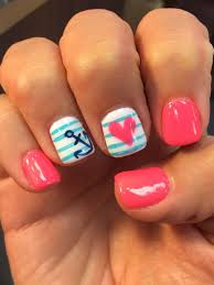 Nail Designs For June Summer Nails Design Anchor Pink June Gel Nail Mani Heart