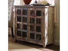 add some vintage style charm to any room with this hand crafted wooden cabinet made from reclaimed wood with a distressed painted finish and antique print bernhardt vintage desk 458592