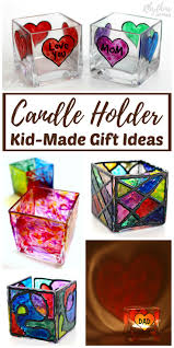 This fun collection of hand-painted candle holders kid-made gift ideas make  gift