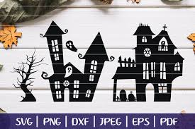The blur effect makes it. Haunted House Svg Silhouettes Halloween Haunted Mansion Svg 349004 Svgs Design Bundles
