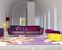 living room comely design with purple sofa and yellow rug designs 18