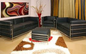 Leather Chairs For Living Room Black Leather Le Corbusier Style Modern 4pc Living Room Set