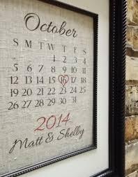 traditional 2nd second wedding anniversary gift customized cotton wedding anniversary art calendar date by lemon milk designs etsy