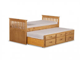 3ft Captain's cabin Bed with slide out Under Bed (in wax pine or white  finish)