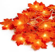 Fall Garlands With Lights Gibot Thanksgiving Decorations Lights Fall Garlands 20 Led 7 2 Feet Battery Powered Maple Leaf Lights Harvest Thanksgiving Decor Halloween String