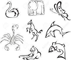 簡単な変な動物黒と白のベクトル イメージのセット