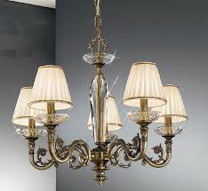 contarini 5 light antique brass chandelier with shades kolarz lighting