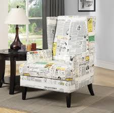 Printed Chairs Living Room White Newspaper Print Wing Accent Chair Totally Rad Homes