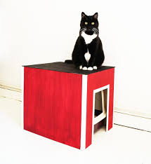 diy red black and white cat litter box cover via nur noch