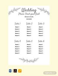 14 Simple Wedding Seating Chart Samples In Pdf Word
