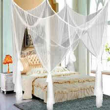 Yaheetech White 4 Corner Post Bed Canopy Mosquito Net Full Queen ...