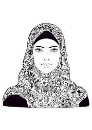 This set of coloring pages for children is pretty unique. Woman Headscarf Oriental Adult Coloring Pages