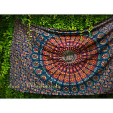 indian hippy mandala orange green wall tapestry bohemian twin small size hanging dorm decor bedroom bedspread
