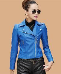 fashion leather clothing female women leather jacket rivet motorcycle clothing short work wear jackets and coats