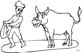 Small Picture Toreador and bull coloring page Free Printable Coloring Pages