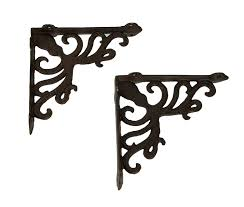 Coastal Iron Design Details About Rustic Brown Coastal Octopus And Scroll Wall Shelf Brackets Set Of 2