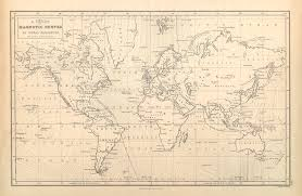 Chart Of Magnetic Curves Of Equal Variation Antique World Map Cartography
