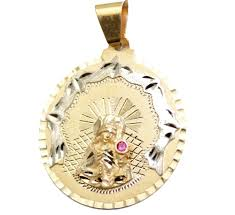 details about santa barbara round 14k gold medal santa barbara oro14k yellow gold medal