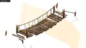Suspension Bridge Model Design Handpaint Cartoon Wooden Structure Suspension Bridge Wooden