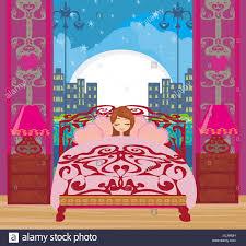 Ein Schönes Mädchen Schlafen Im Schlafzimmer Stockfoto Bild