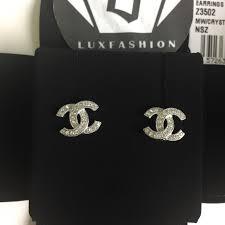 chanel earrings. chanel jewelry - chanel classic cc crystal stud earrings in silver