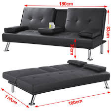 3 Seater Sofa Bed Cheap Faux Leather Tv Cinema Sofa Bed On Chrome Legs With Pull