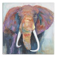 colorful elephant painting print on wrapped canvas