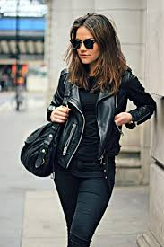 via just the design amy spencer is wearing a black all saints leather jacket with
