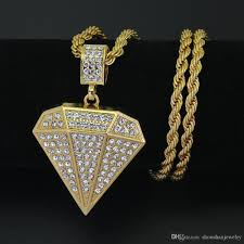 whole new fashion jewelry men iced out hip hop necklace diamond shape pendant 5mm 30inch rope chain n541 diamond circle pendant necklace amber pendant