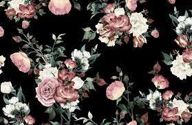 Vintage Pink & Black Floral Wallpaper ...
