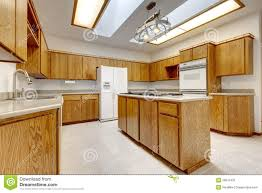 Bright Ceiling Lights For Kitchen Wood Kitchen With Island Without Windows With Bright Light Stock
